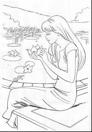 outstanding barbie coloring pages mermaid with barbie mermaid