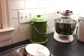 modern kitchen design with green countertop compost bin ideas