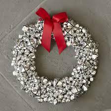 silver jingle bell wreath williams sonoma