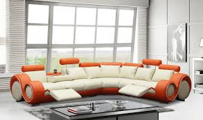 Modern Leather Sectional Couch Divani Casa 4087 Modern Leather Sectional Sofa In Off White