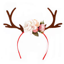 deer ears headband 2017 diy christmas headband antlers ear hair hoop with flowers