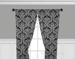 White And Black Damask Curtains Traditional Curtains Etsy