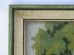 country church in the woods framed vintage needlepoint