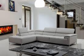 Modern Leather Sectional Sofa Casa Citadel Modern Light Grey Eco Leather Sectional Sofa W Audio