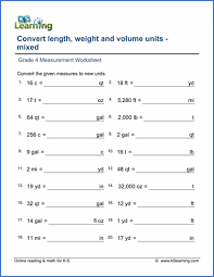 printable worksheets in math for grade 4 grade 4 math worksheet measurement convert length weight and