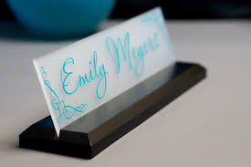 Desk Name Plates With Business Card Holder Desk Name Plate Office Supply Personalized Secretary Sign Gift