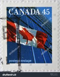 Canadian Flag 1960 Canada Circa 1995 Stamp Printed Canada Stock Photo 147693824