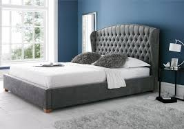 King Bed Frame Upholstered Winged Upholstered Bed Frame King Size Beds Bed Sizes