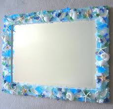 seashell mirror frame shell craft mirrors beach decor sea glass