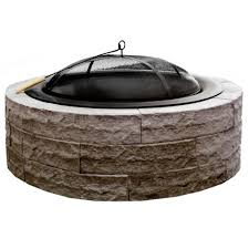 Concrete Fire Pits by Four Seasons Lightweight 42 In Wood Burning Concrete Fire Pit