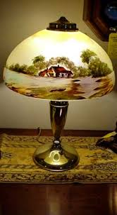 Glass Table Lamp Shades Antique Lamp For Table Or Desk Hand Painted Obverse Glass Shade