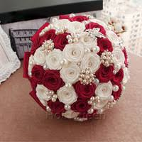 Red Wedding Bouquets Aliexpress Com Buy In Stock Gorgeous Beaded Crystal Wedding