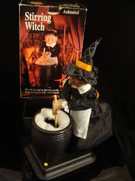 halloween witch pot animated gemmy stirring cauldron pot witch prop light sound