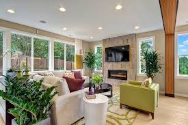 Recessed Electric Fireplace Contemporary Living Room With Hardwood Floors U0026 Carpet Zillow