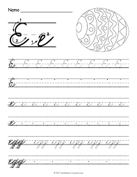 free printable cursive e worksheet cursive writing worksheets