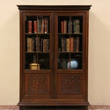 Wide Bookcase With Doors Sophisticated Antique Wood Bookcase Glass Doors Interior Home