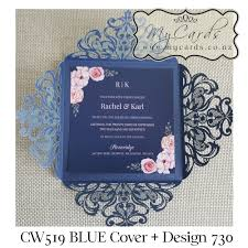 navy blue wedding invitations blue wedding invitation cover lasercut mycards cw519