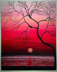 acrylic tree silhouettes learn blending gorgeous red sunset