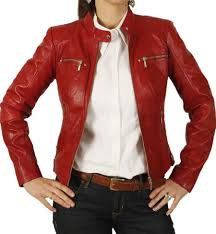 women leather jacket womens red color leather jacket for sale