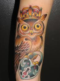 lock tattoos images of owl with crown and lock locket tattoo