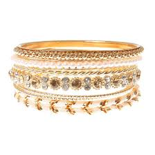 gold pearl bangle bracelet images Gold with ivory cord crystal pearls bangle bracelets claire 39 s us jpg