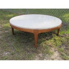 round stone top coffee table danish modern round stone top coffee table by lane chairish