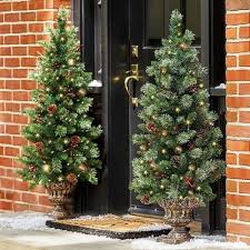 4 ft pre lit entryway trees set of 2 by