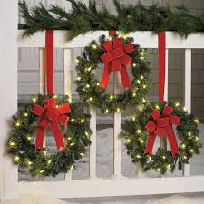 holiday time pre lit 18 christmas garland multi lights set of 3 cordless pre lit mini christmas wreaths outdoor christmas