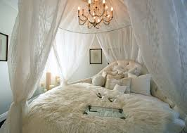 White Canopy Bed Curtains Bedroom Canopy Bed With White Bed Curtain And White Shag Bedding