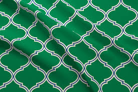 lily trellis in preppy green and navy fabric willowlanetextiles