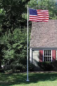 Commercial Flag Pole Amazon Com American Flag And Flagpole Set 20 Ft White