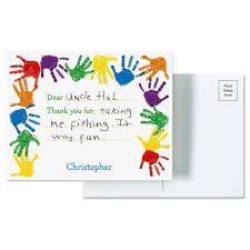 thank you postcards kids handprints personalized thank you postcards current catalog