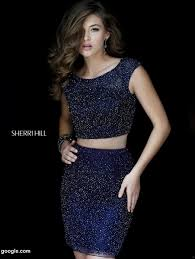 sherri hill navy ombre two piece beaded cocktail dress size 4