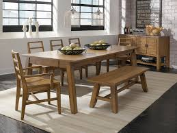 an enticing wood dining room table with bench seat with chairs