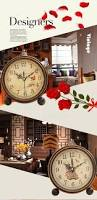 Decorative Home by Vintage Aralm Clock Table Desk Wall Clock Retro Rural Style