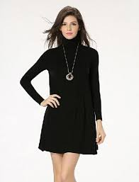 autumn winter solid turtleneck long sleeve black dress swing