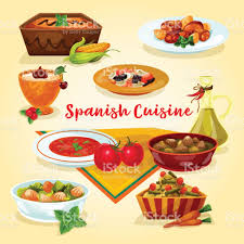 espagne cuisine icône de dessin animé plats savoureux dîner de cuisine espagnole