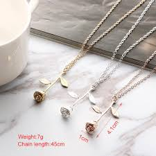 pendant necklace chain length images Romantic charming rose pendant necklace jewelry jpg