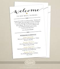wedding reception itinerary itinerary cards for wedding hotel welcome bag printed