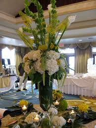 candi u0027s floral creations tall yellow and white wedding centerpiece