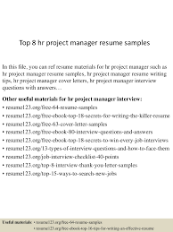 Best Resume Samples For Hr by Top8hrprojectmanagerresumesamples 150521074702 Lva1 App6892 Thumbnail 4 Jpg Cb U003d1432194467