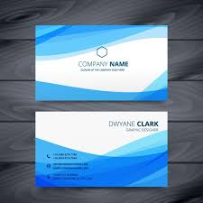 Id Card Design Psd Free Download Abstract Business Card With Blue Waves Vector Free Download