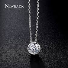 silver zirconia necklace images Newbark simple round 1 carat cubic zirconia solitaire pendant jpg