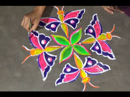 butterfly easy rangoli designs with 8x2 dots kolam designs with