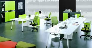 Contemporary Modern Office Furniture by Green Office Chairs And White Office Staff Desks In Modern Office
