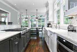 Galley Style Kitchen Designs - grey and white galley kitchen 35 galley kitchen ideas u0026 designs