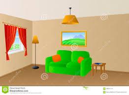 living room beige green sofa orange pillows lamps window