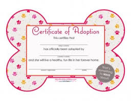Pet Adoption Certificate Template free printables adoption certificates big dot of happiness