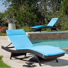 Outdoor Chaise Lounge Blue Cushion Pads Waterproof For Outdoor Patio Chaise Lounge