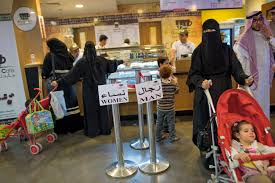 the changing face of saudi women separation is everywhere even in line food outlets like this cafe in riyadh must follow unique saudi laws all lines counters and eating areas are